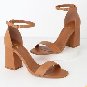 Tan Leather Ankle Strap Heels
